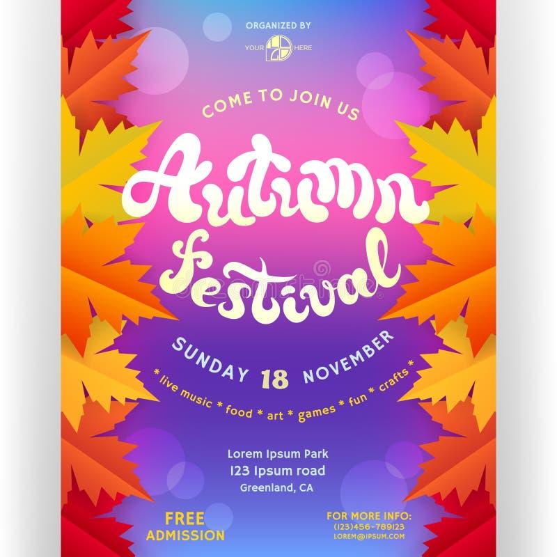 Calibre de conception d'affiche de festival d'automne pour l'invitation illustration libre de droits
