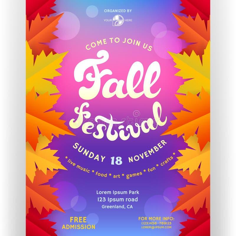 Calibre de conception d'affiche de festival de chute pour l'invitation illustration libre de droits