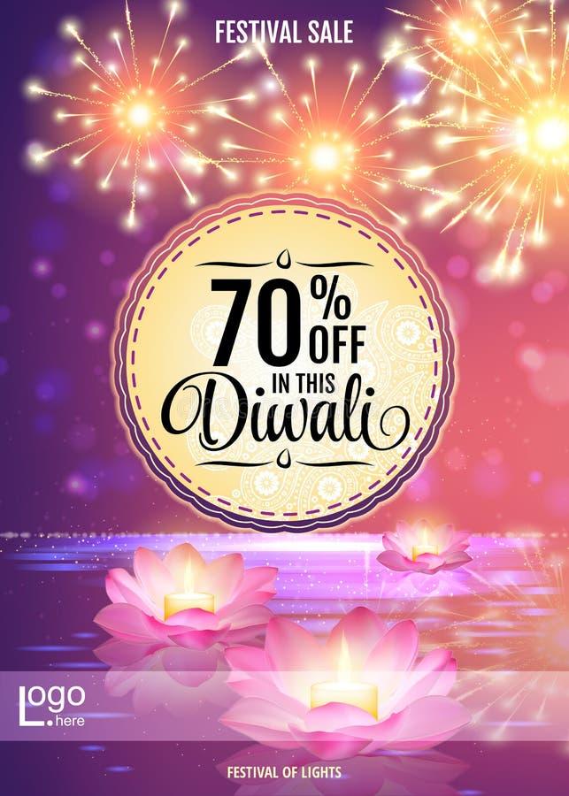 Calibre de conception d'affiche d'offre de festival de Diwali avec des lanternes de l'eau de Lotus illustration stock
