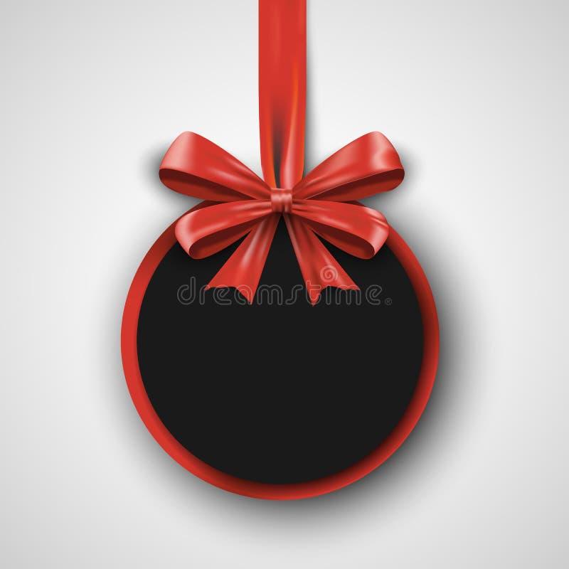 Calibre de conception d'anniversaire Bannière d'invitation avec le ruban rouge d'arc Affiche de promotion de vacances illustration de vecteur