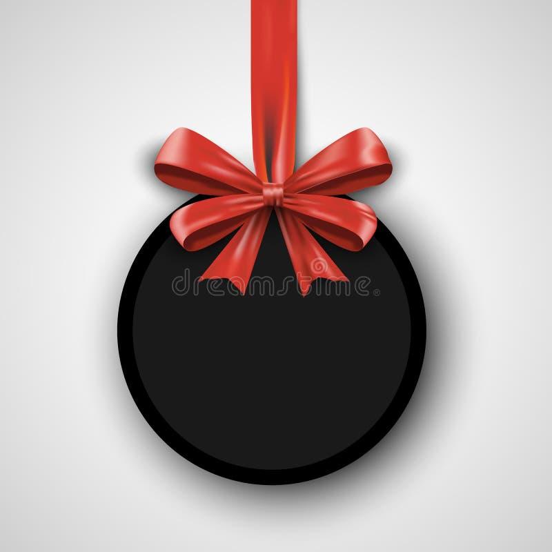 Calibre de conception d'anniversaire Bannière d'invitation avec le ruban rouge d'arc Affiche de promotion de vacances Cadeau d'il illustration de vecteur