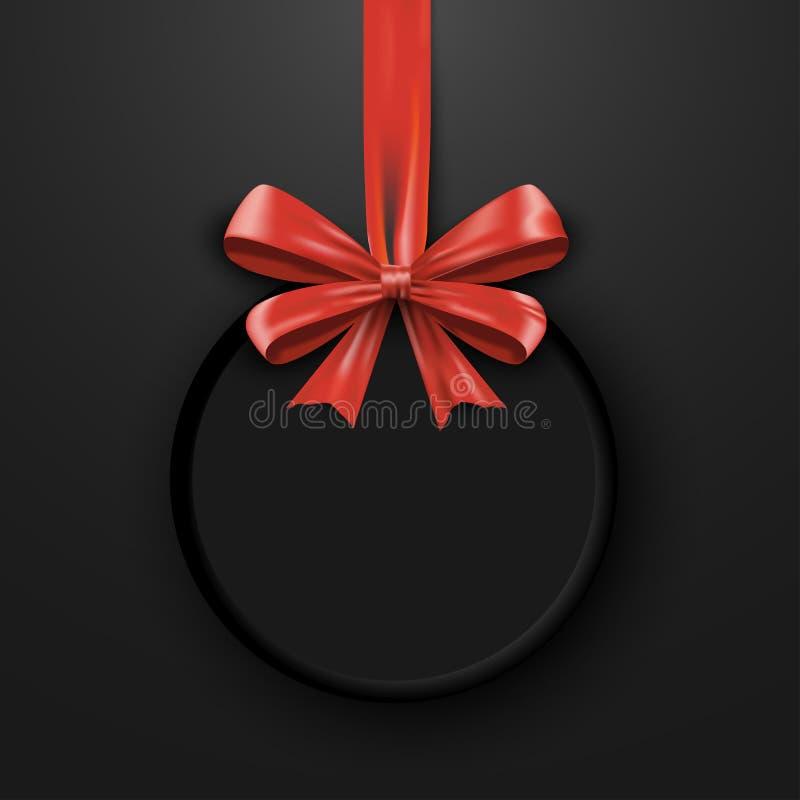Calibre de conception d'anniversaire Bannière d'invitation avec le ruban rouge d'arc Affiche de promotion de vacances Cadeau d'il illustration libre de droits