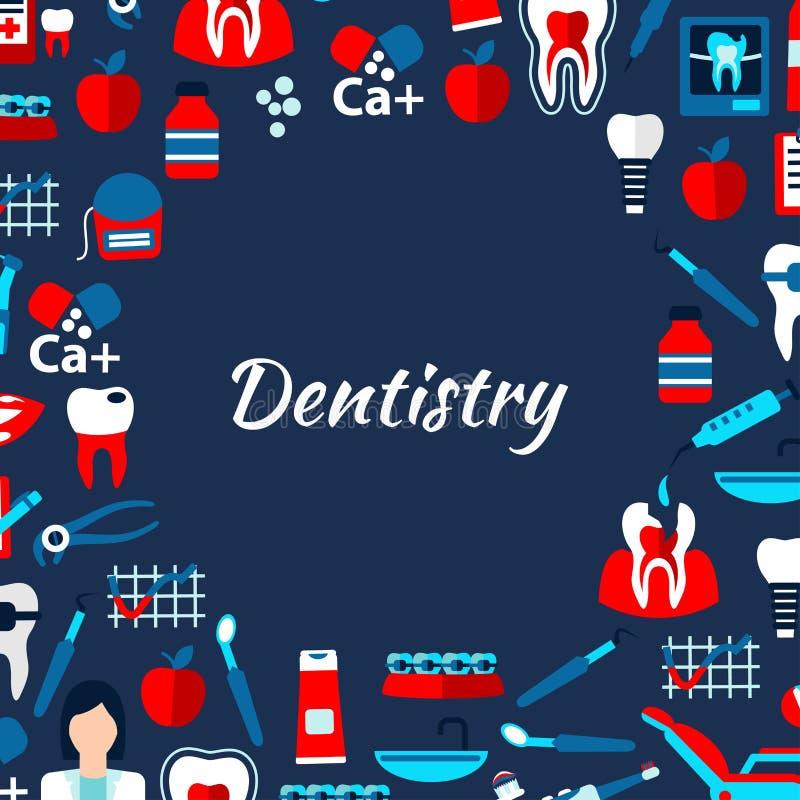 Calibre de conception d'art dentaire avec les icônes médicales plates illustration libre de droits
