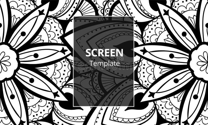 Calibre de conception d'?cran d'ordinateur avec le mandala sofisticated Ornement ethnique de mandala illustration libre de droits