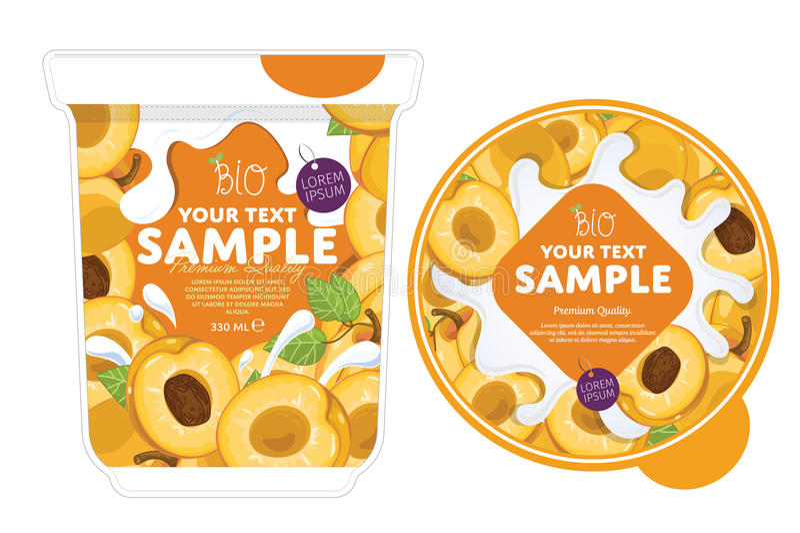 Calibre de conception d'emballage de yaourt d'abricot illustration de vecteur