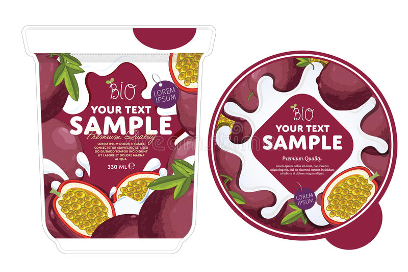 Calibre de conception d'emballage de yaourt de passiflore comestible de passiflore illustration de vecteur