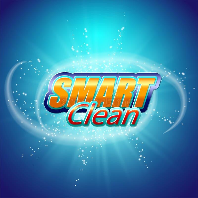 Calibre de conception d'emballage pour la poudre à laver Superbe nettoyez Bulles de savon, mousse illustration stock