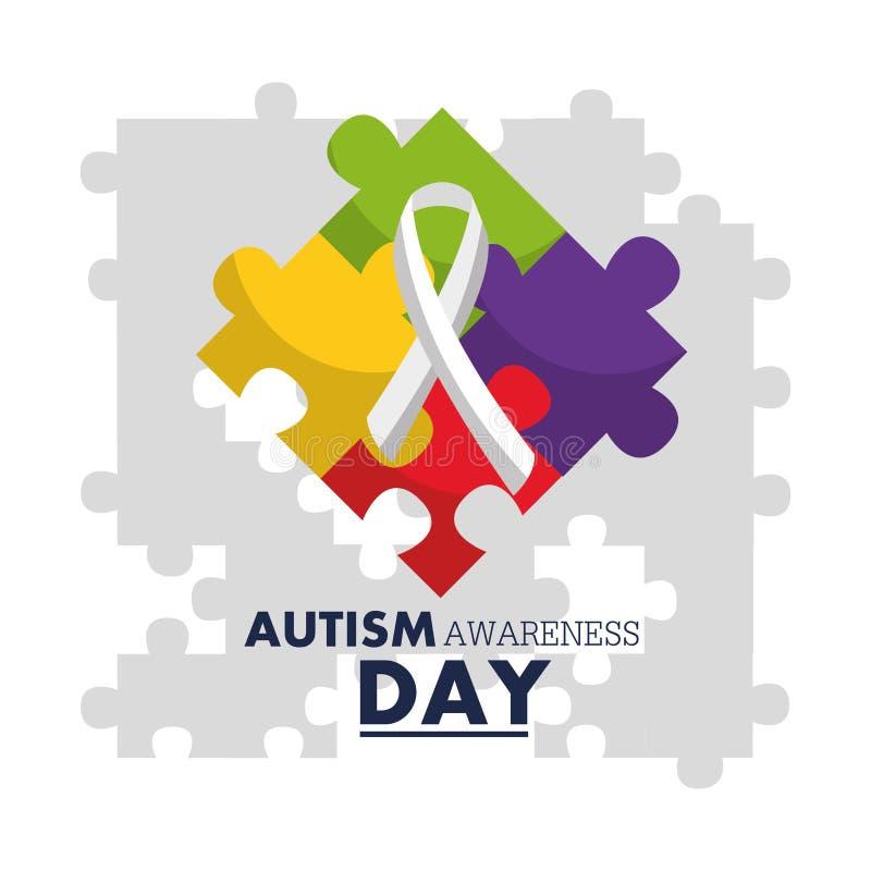 Calibre de conception d'emblème de jour de conscience d'autisme illustration stock