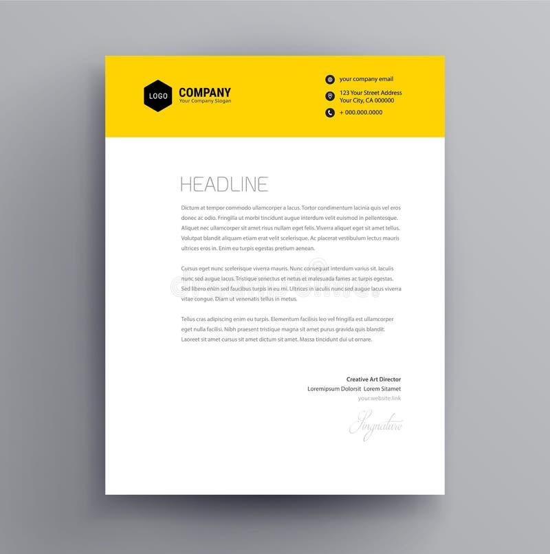 Calibre de conception d'en-tête de lettre et vecteur minimaliste de style de maquette - illustration de vecteur