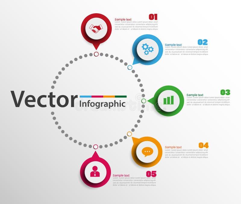 Calibre de conception d'Infographic avec des cercles Concept d'affaires avec 5 options illustration stock