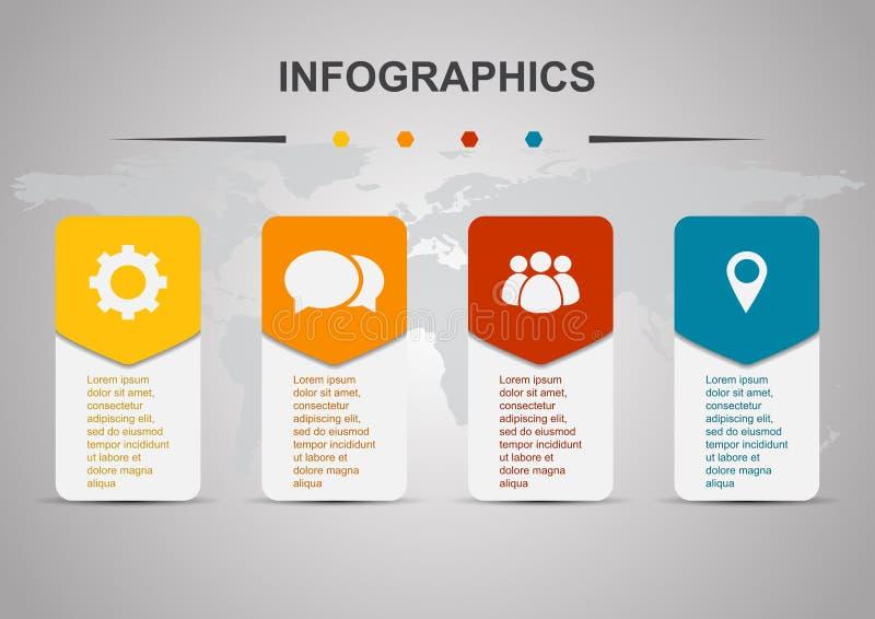 Calibre de conception d'Infographic avec des rectangles arrondis illustration libre de droits