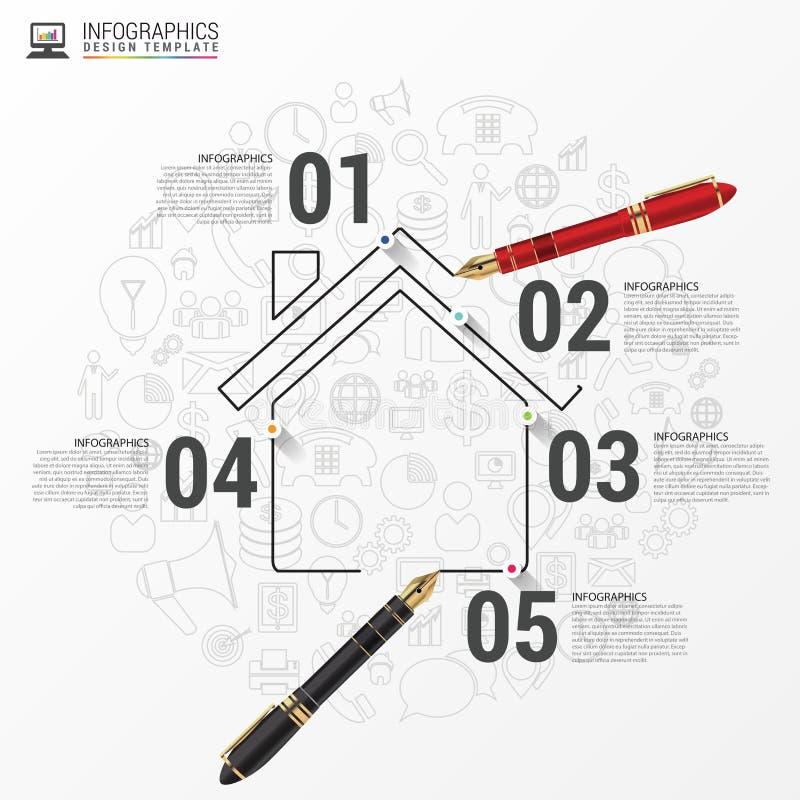 Calibre de conception d'Infographic avec la maison Vecteur illustration stock