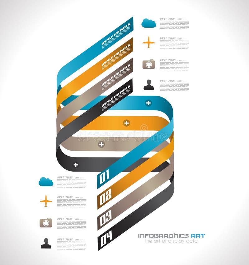 Calibre de conception d'Infographic avec les étiquettes de papier. illustration stock