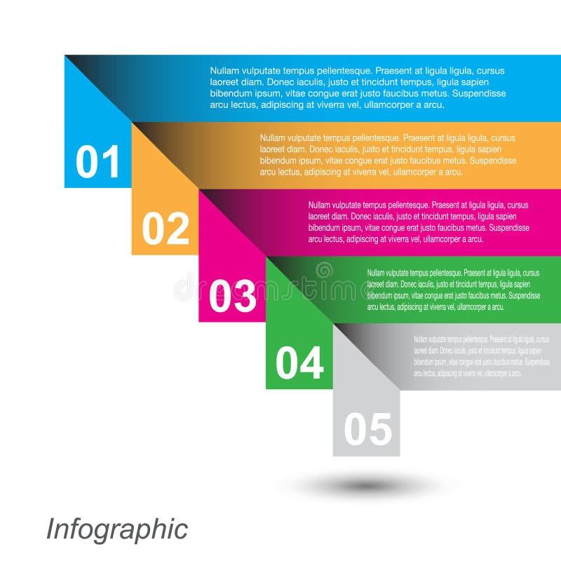 Calibre de conception d'Infographic avec les étiquettes de papier illustration stock
