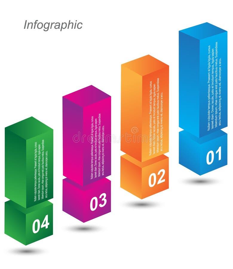 Calibre de conception d'Infographic avec les étiquettes de papier illustration libre de droits