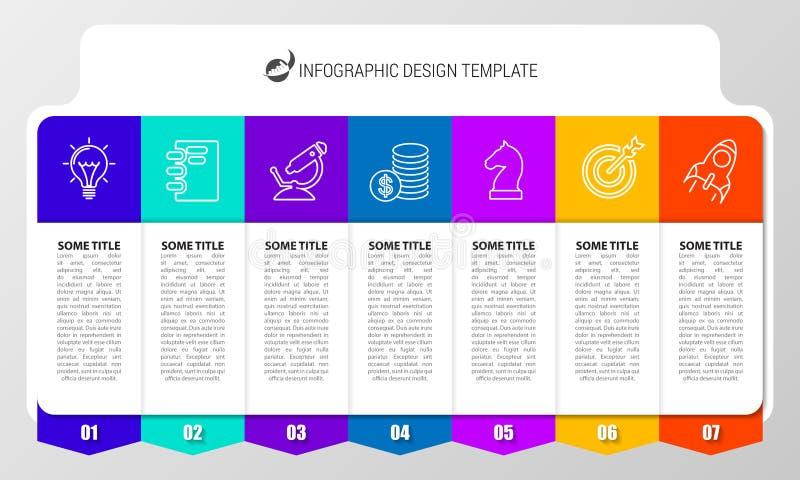 Calibre de conception d'Infographic Concept créatif avec 7 étapes illustration stock