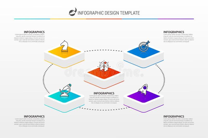 Calibre de conception d'Infographic Concept créatif avec 5 étapes illustration stock
