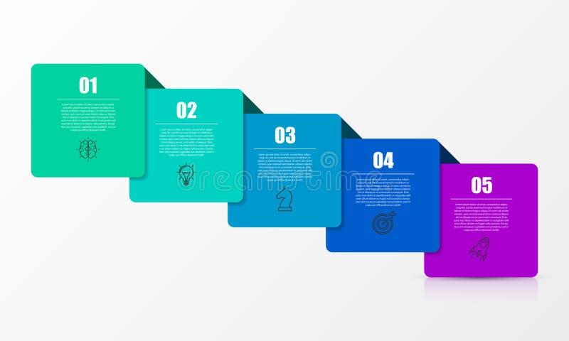 Calibre de conception d'Infographic Concept cr?atif avec 5 ?tapes illustration libre de droits