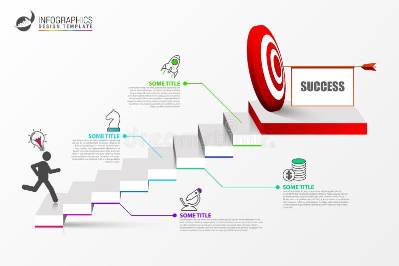 Calibre de conception d'Infographic concept d'escalier avec des étapes illustration de vecteur