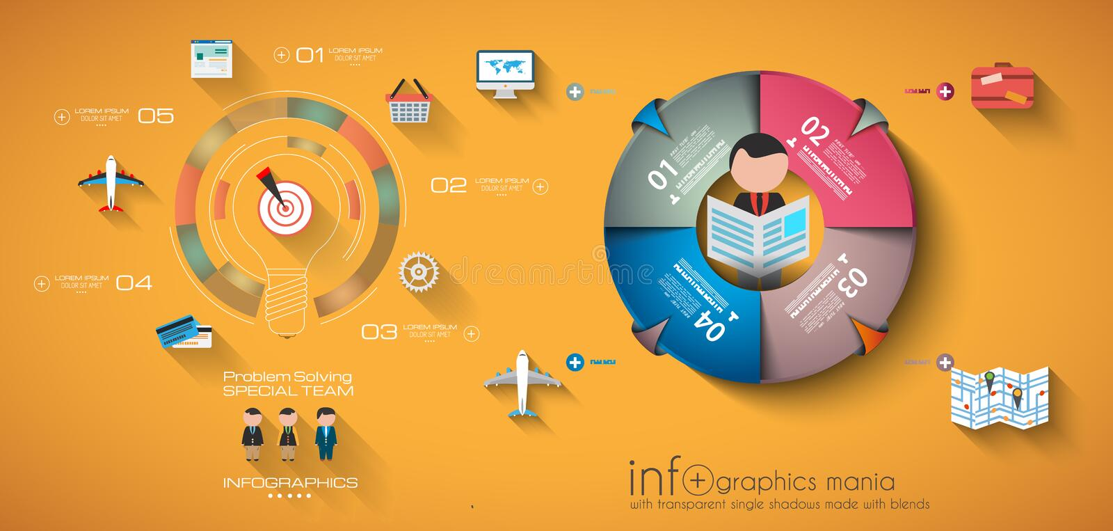 Calibre de conception d'Infographic de chronologie illustration stock