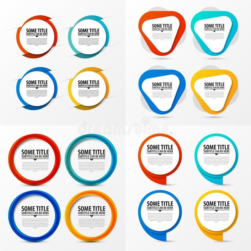 Calibre de conception d'Infographic Ensemble créatif de diagrammes circulaires Peut être employé pour la disposition de dérouleme illustration libre de droits
