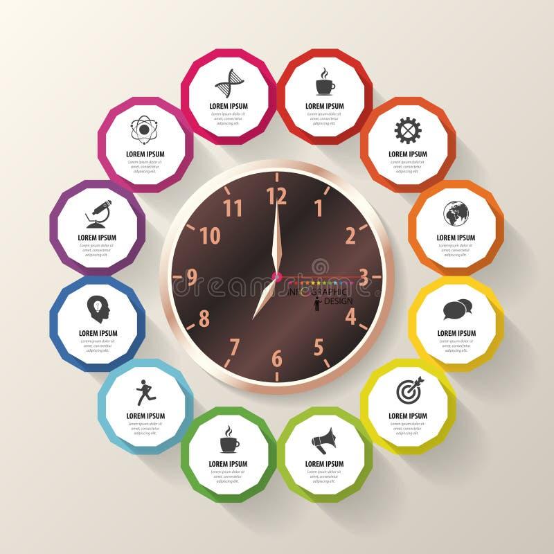 Calibre de conception d'Infographic Plan d'action Horloge moderne Vecteur illustration de vecteur