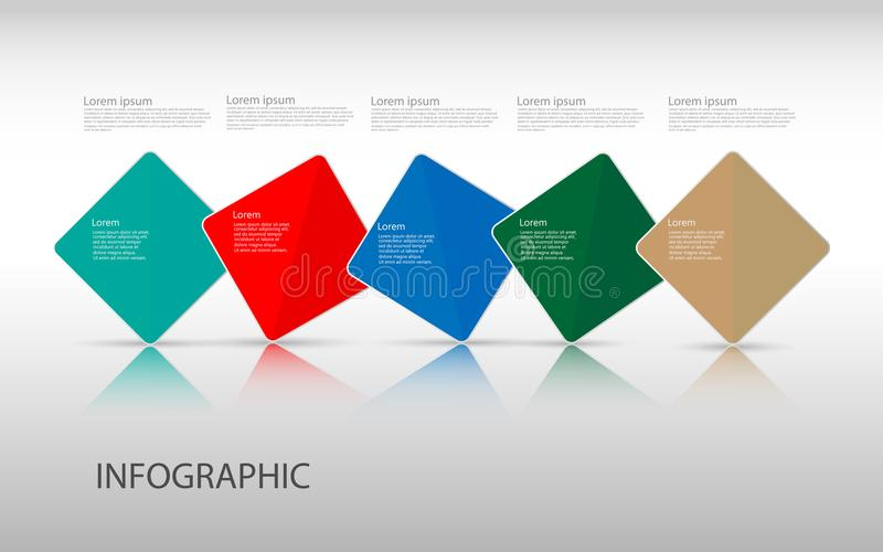 Calibre de conception d'infographics de chronologie avec 5 options, Di de processus illustration libre de droits