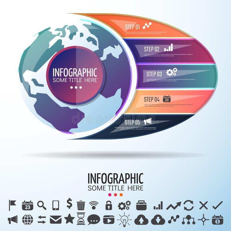 Calibre de conception d'infographics de carte du monde illustration libre de droits