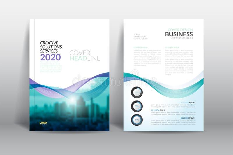 Calibre de conception d'insecte de brochure de couverture de rapport annuel avec le vecteur de vague abstrait illustration stock