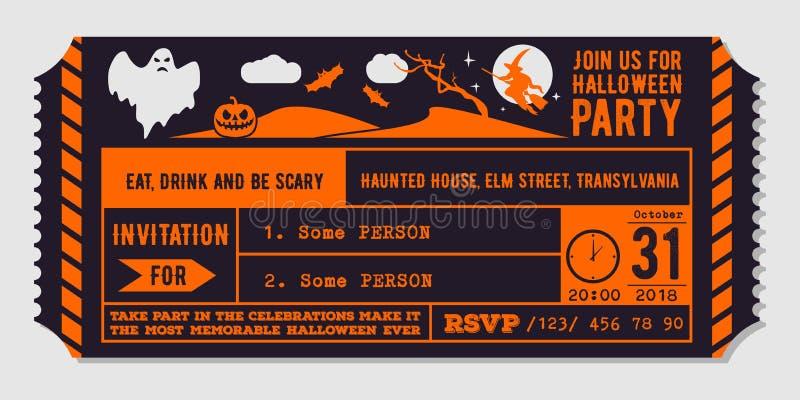 Calibre de conception d'invitation de partie de Halloween de vintage illustration de vecteur