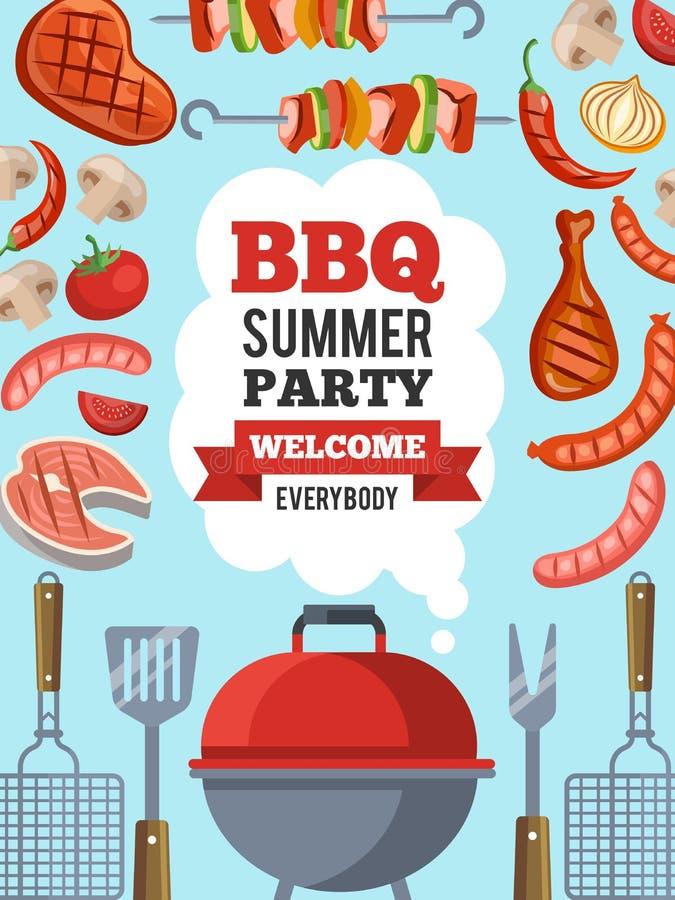 Calibre de conception d'invitation pour la partie de BBQ Dirigez l'illustration d'affiche avec l'endroit pour votre texte illustration stock