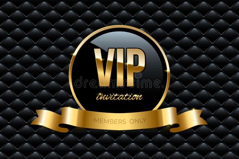 Calibre de conception d'invitation de VIP Dirigez l'anneau d'or avec le texte de ruban et d'invitation de VIP sur le fond de luxe illustration de vecteur