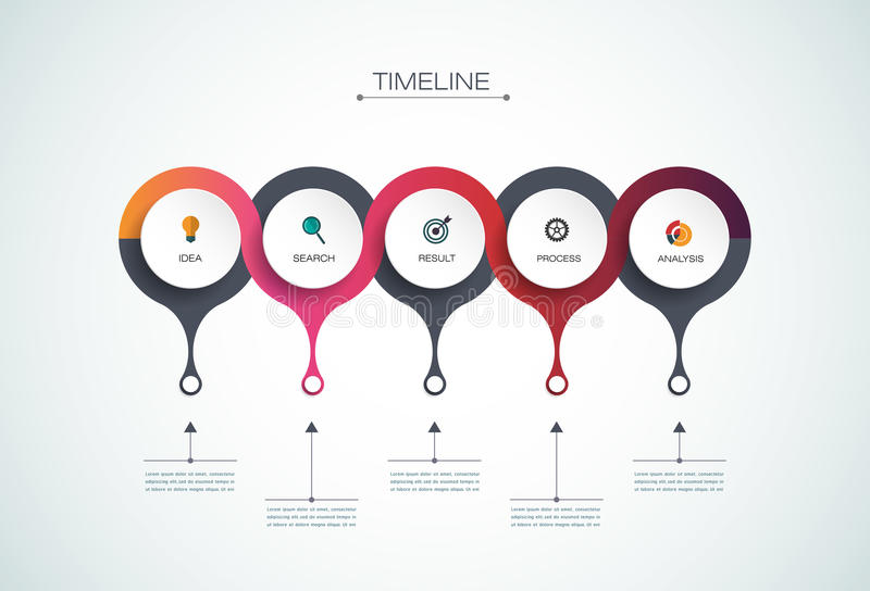 Calibre de conception de chronologie d'infographics de vecteur illustration stock