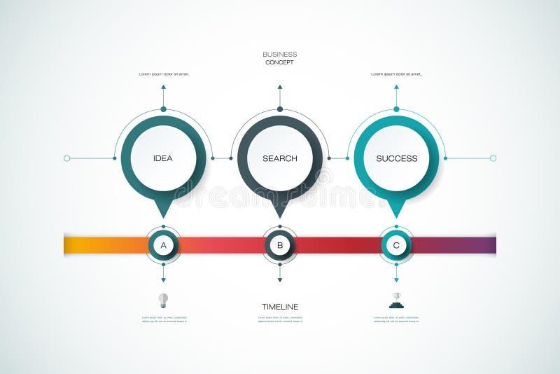 Calibre de conception de chronologie d'infographics de vecteur avec le label du papier 3D illustration de vecteur