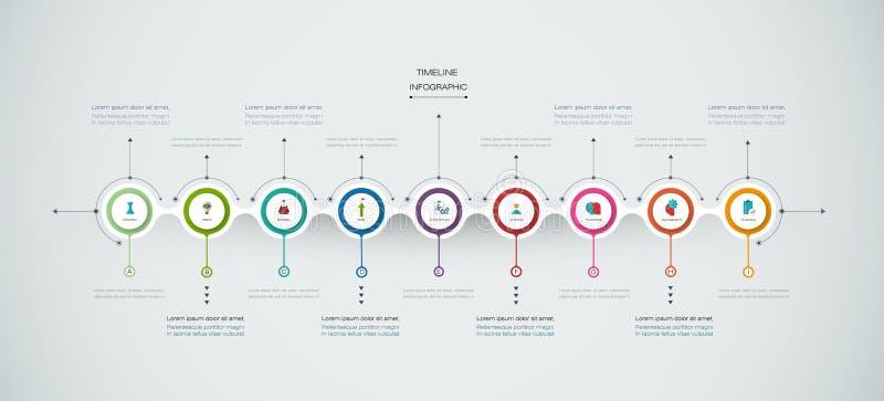 Calibre de conception de chronologie d'infographics de vecteur avec le label du papier 3D illustration libre de droits
