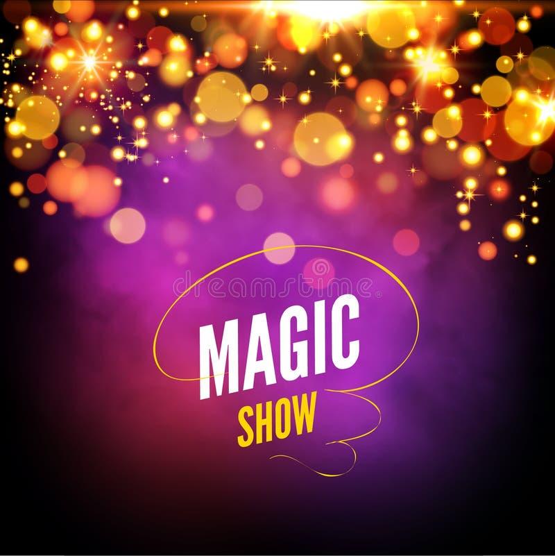 Calibre de conception de fond de spectacle de magie La magie de vecteur allume le fond Bokeh rougeoyant d'effet de la lumière illustration libre de droits