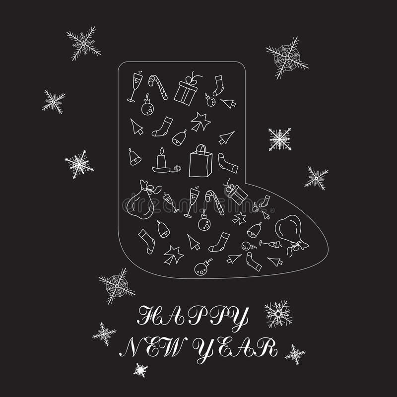 Calibre de conception de la bonne année 2017, composition sous forme de chaussure, minimalisme Ensemble orienté de griffonnage de photo libre de droits