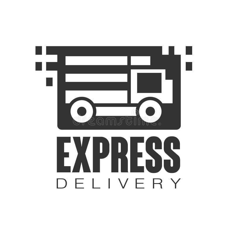 Calibre de conception de logo de la livraison express, illustration noire de vecteur sur un fond blanc illustration libre de droits