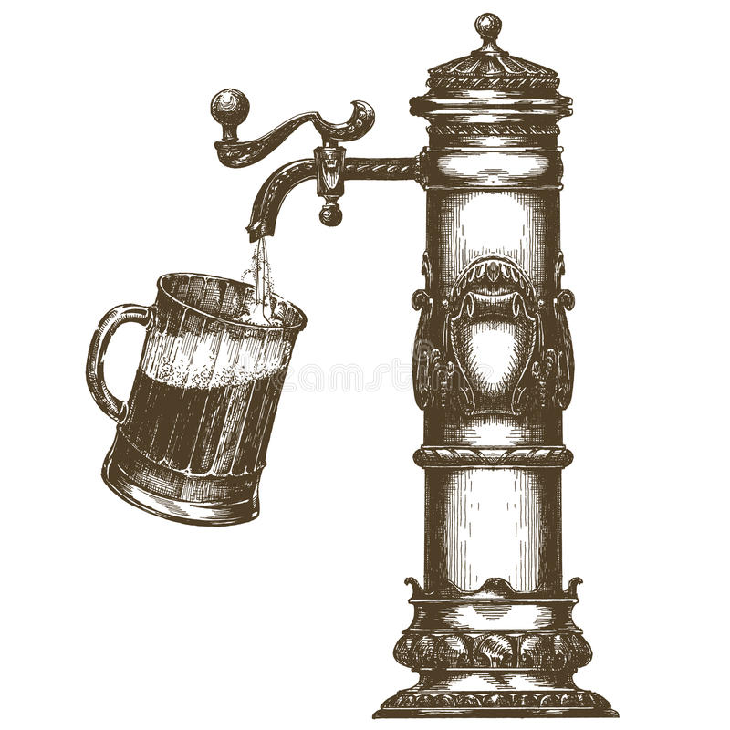 Calibre de conception de logo de vecteur de bière bière pression ou illustration de vecteur