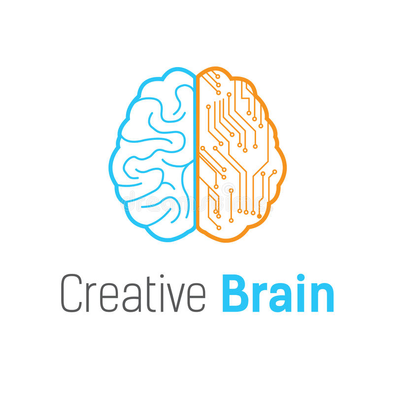 Calibre de conception de logo de vecteur de technologie de cerveau