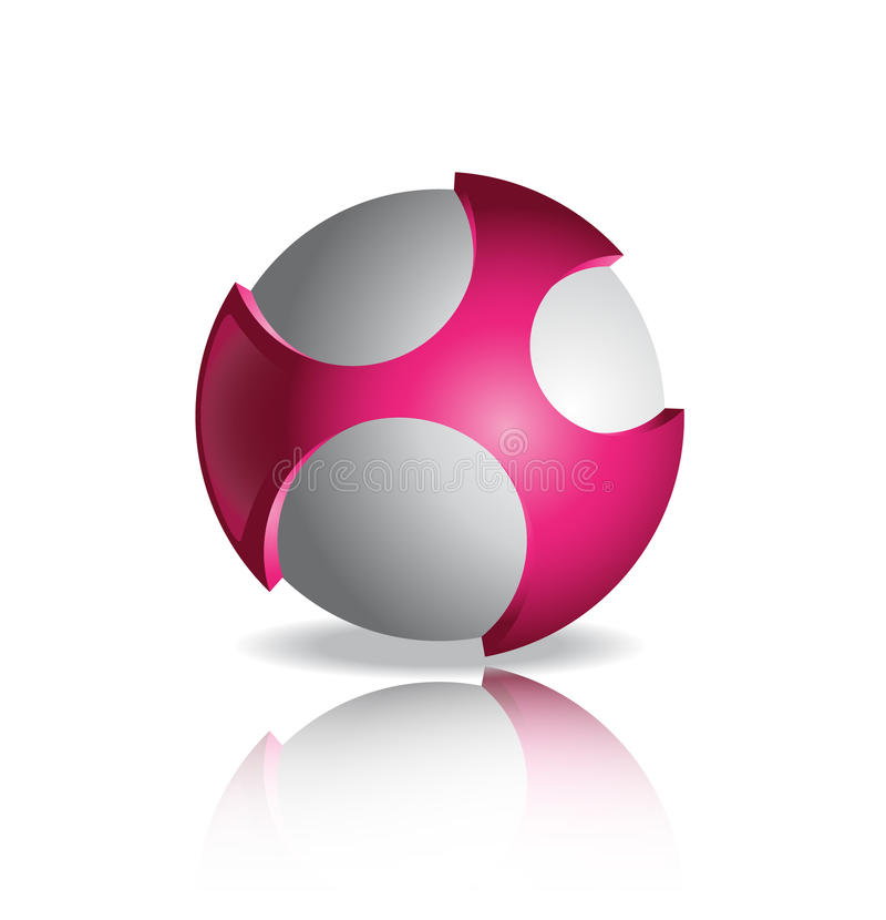 Calibre de conception de logo de vecteur Globe rose et gris abstrait image stock