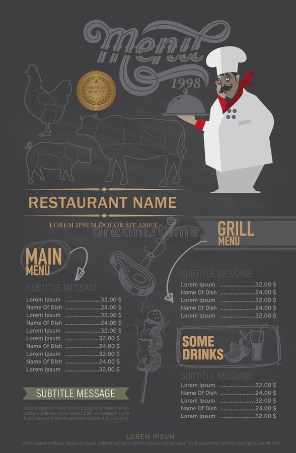 Calibre de conception de menu de restaurant illustration de vecteur