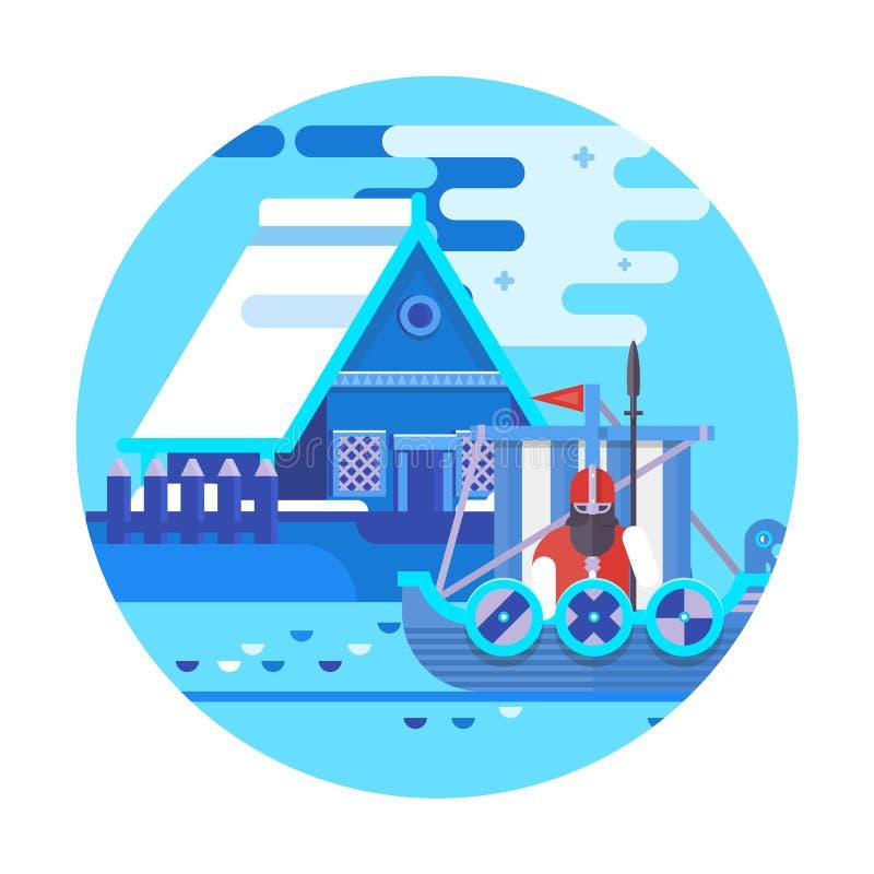 Calibre de conception de pays de la Norvège Voyage et showplace du monde en Europe, collection européenne de vacances illustration de vecteur