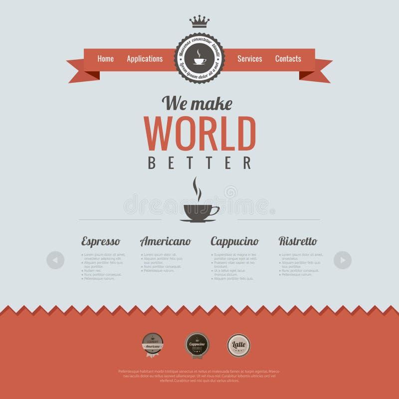 Calibre de conception de site Web de vintage. Thème de café. Htm illustration libre de droits