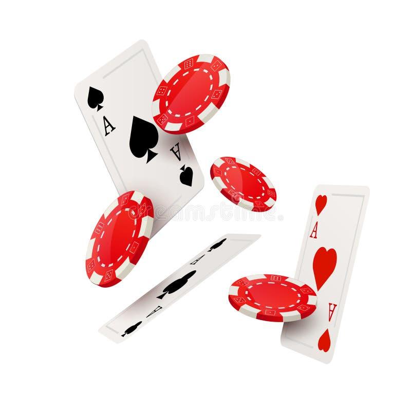 Calibre de conception de tisonnier de casino Concept en baisse de jeu de cartes et de puces de tisonnier illustration libre de droits