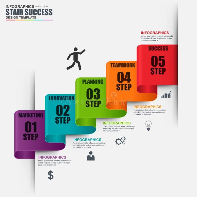 Calibre de conception de vecteur d'étape d'escalier d'Infographic illustration stock