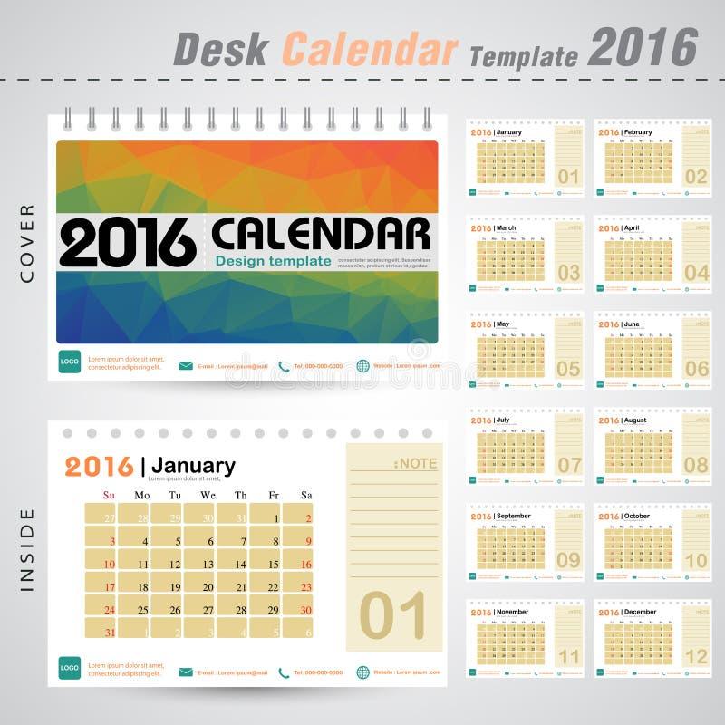 Calibre de conception de vecteur du calendrier de bureau 2016 avec le fond coloré de modèle d'abrégé sur triangle illustration stock