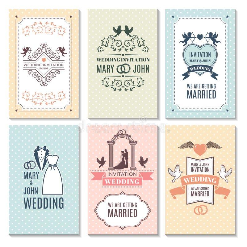 Calibre de conception des cartes d'invitation de mariage illustration libre de droits