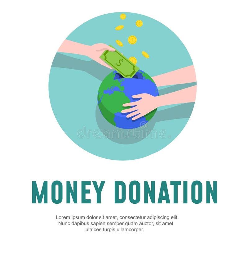 Calibre de conception de donation d'argent Illustration de vecteur de charité illustration stock