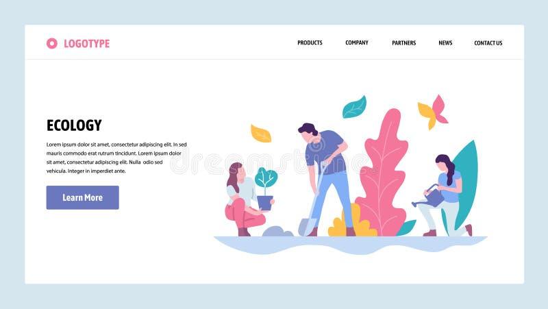 Calibre de conception de gradient de site Web de vecteur Les gens plantent l'arbre en parc Concepts de débarquement d'écologie de illustration libre de droits